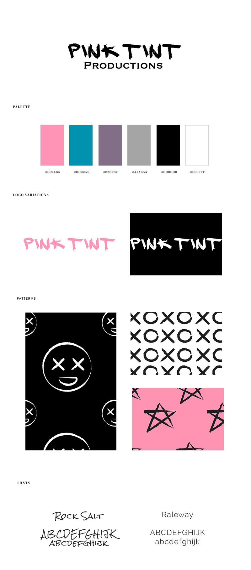 Brand x Web Design for Pink Tint - Brand Board