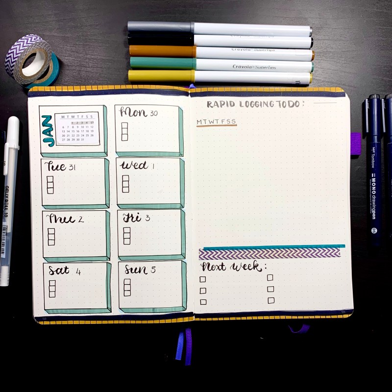 January Bullet Journal Setup