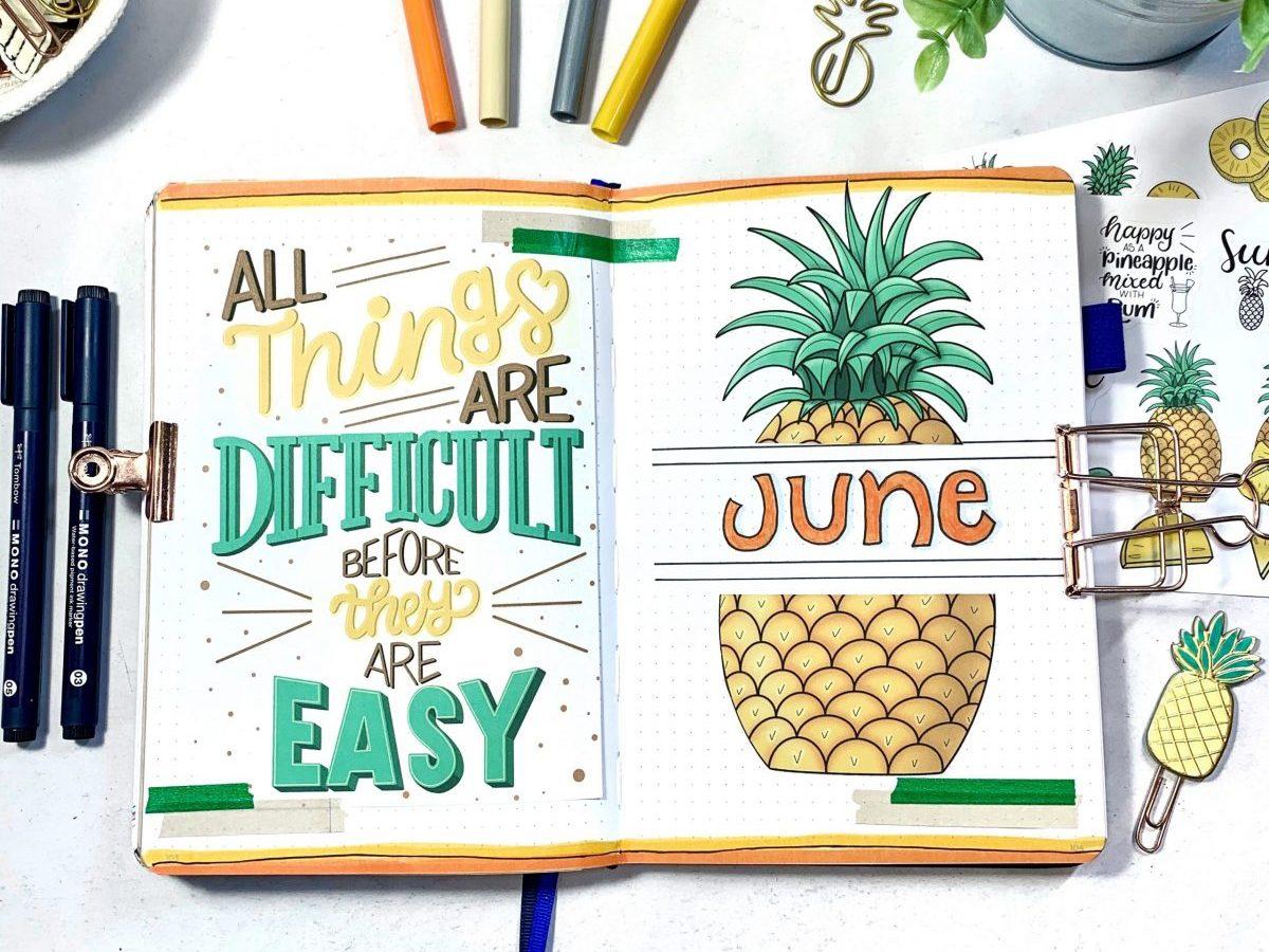 Pineapple Bullet Journal Setup