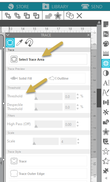 Cutting Stickers using a Silhouette Cameo - Trace Menu