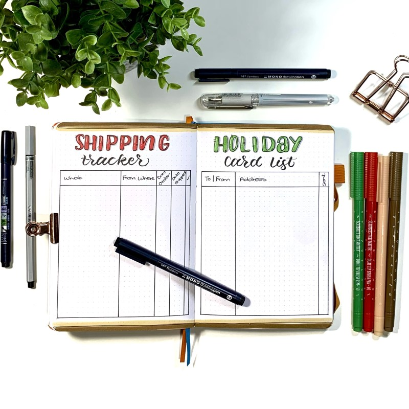 Christmas Planning in a Bullet Journal
