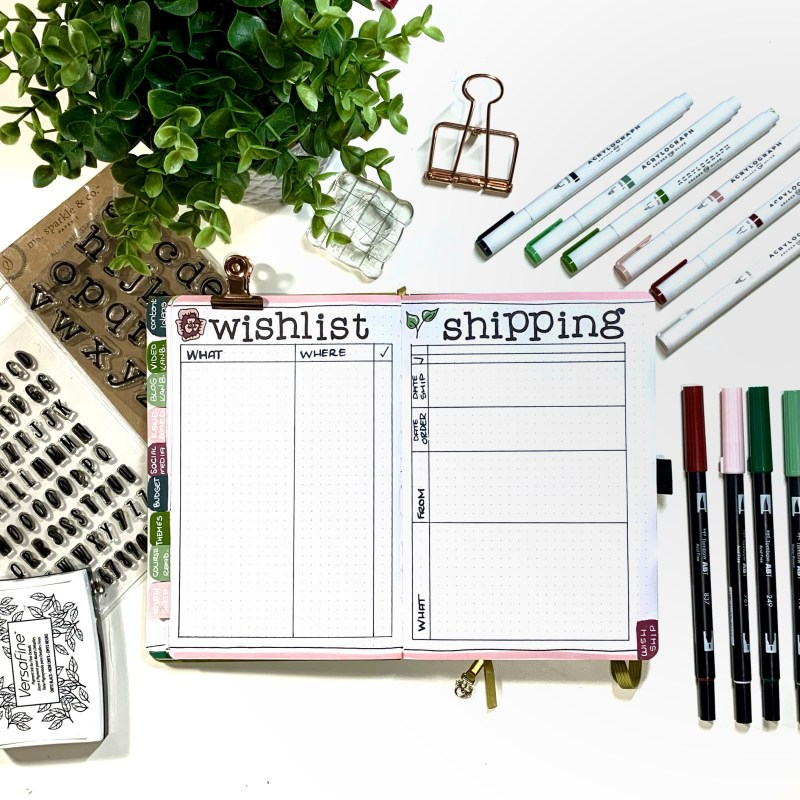 Bullet Journal Setup: Wish List and Shipping Tracker