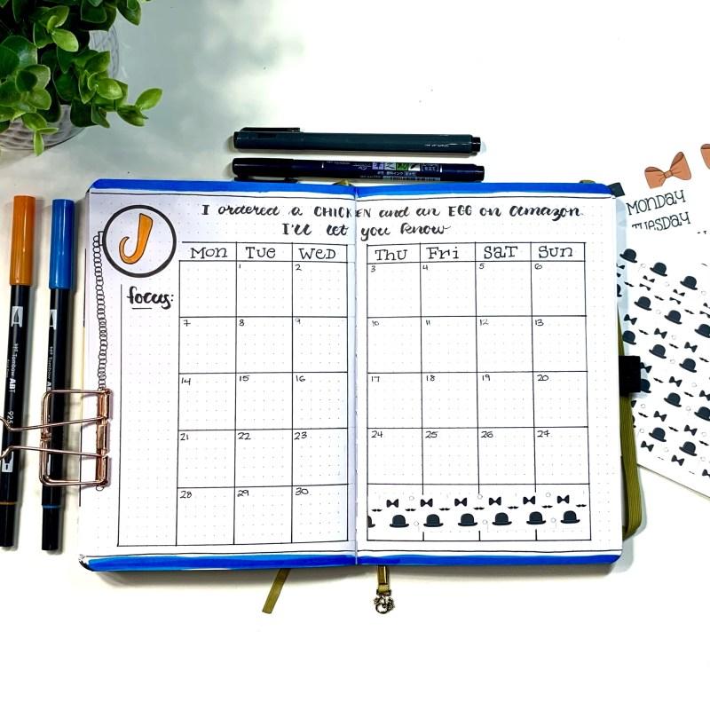 June Bullet Journal Setup Calendar