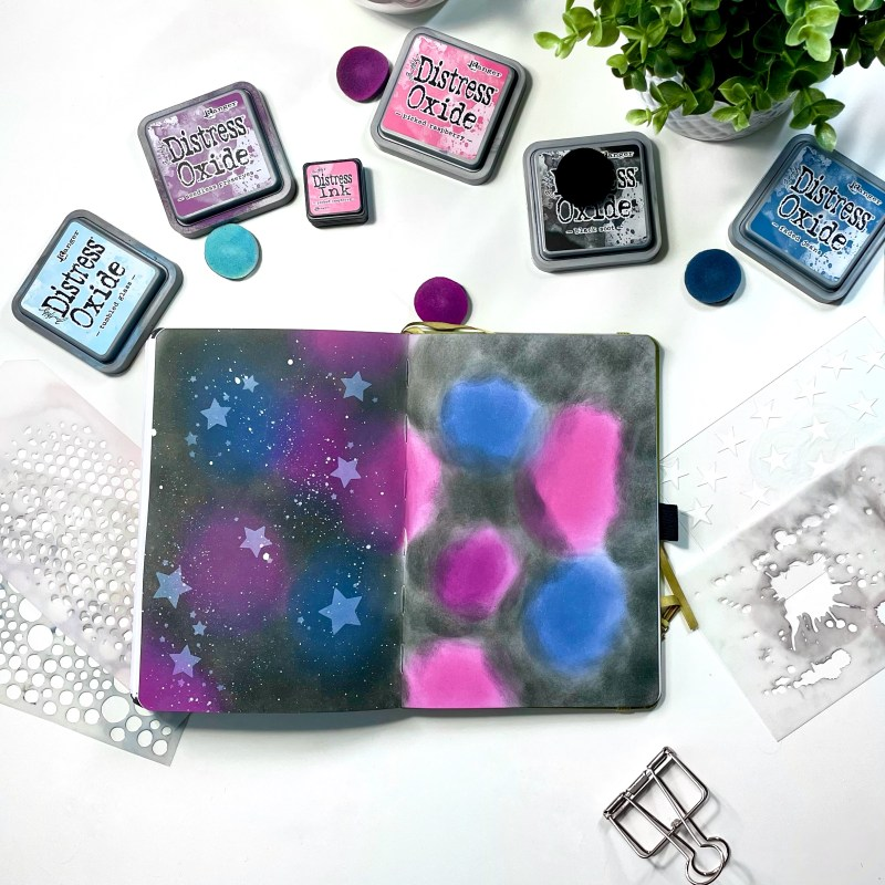 Galaxy Effect with Distress Inks