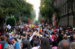 Protestors march along Avenida Reforma, Mexico City