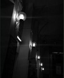 an indoor hallway lamps