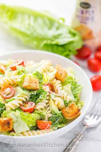You have to try this Pasta Avocado Caesar Salad. Easy and family friendly weeknight meal!   natashaskitchen.com