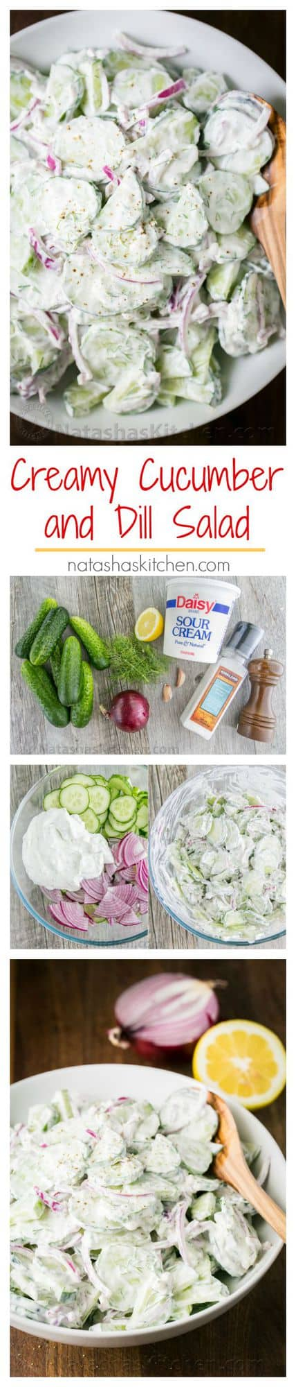 This German cucumber salad is easy, creamy and good. We love it year round but it's especially good with garden cucumbers! | natashaskitchen.com
