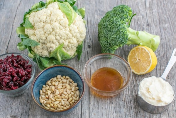 Ingredients for broccoli cauliflower salad and dressing