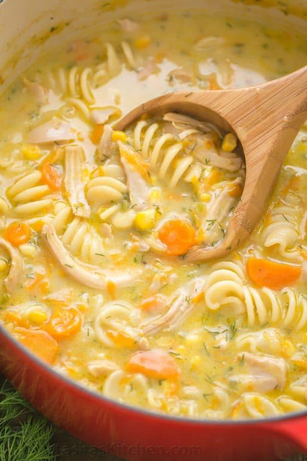 Creamy Chicken Noodle Soup Recipe  NatashasKitchencom