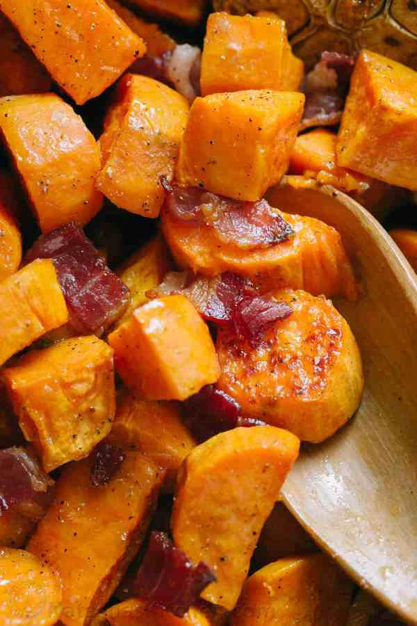 Maple Roasted Sweet Potatoes and Bacon NatashasKitchencom