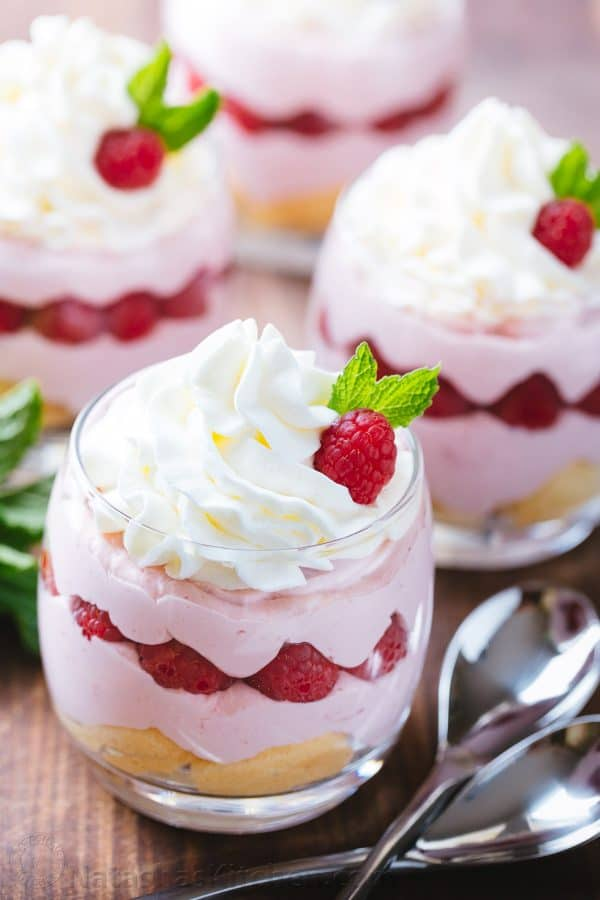 Raspberry Mousse Cups - an easy and impressive dessert and always a hit at parties! The sweet/tart raspberry mousse is bursting with fresh raspberry flavor | natashaskitchen.com