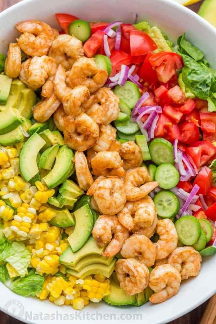 Layered Shrimp Cobb Salad