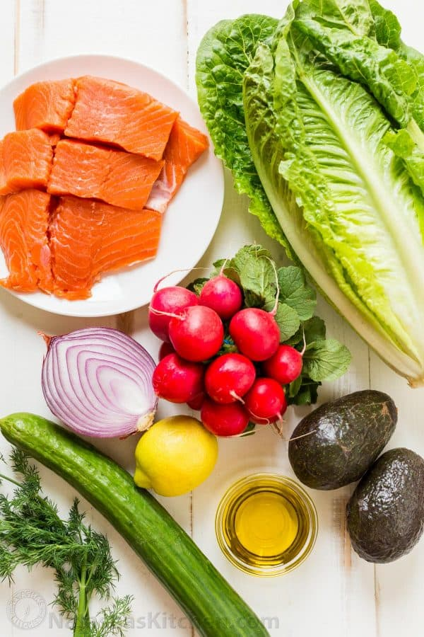 Ingredients of Avocado Salmon Salad