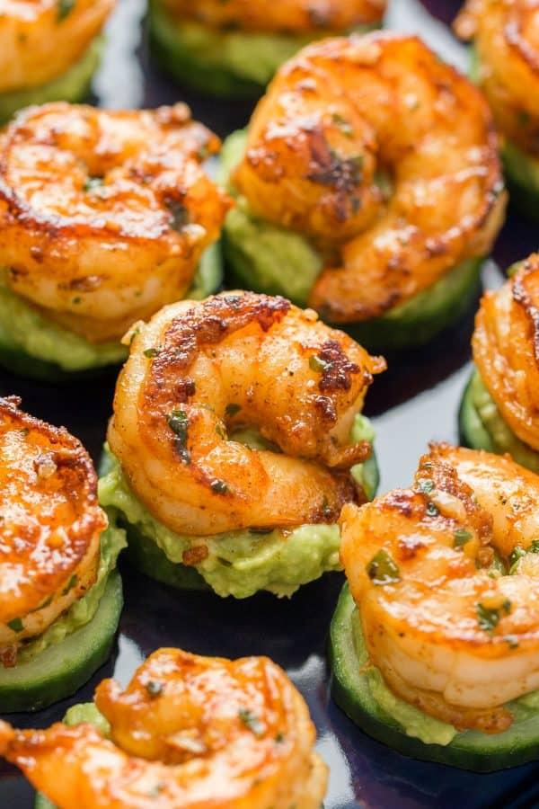 Keto Shrimp Avocado Cucumber Bites