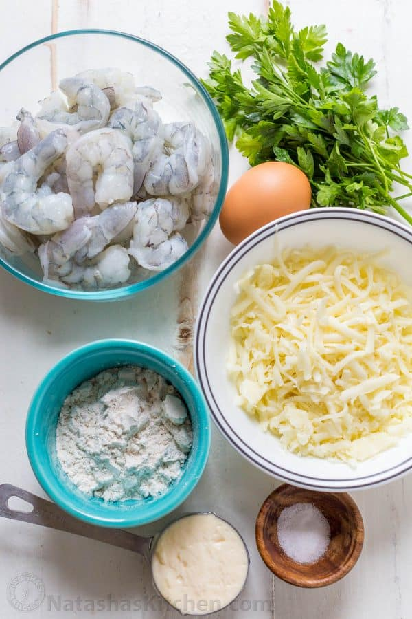 Ingredients for shrimp cakes and lemon aioli sauce for how to make shrimp fritters