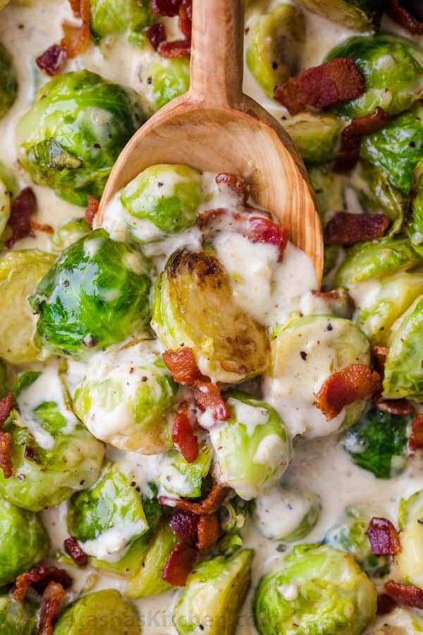 Brussels Sprouts in Aflredo Sauce topped with bacon