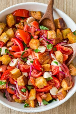 Panzanella Salad in mixing bowl