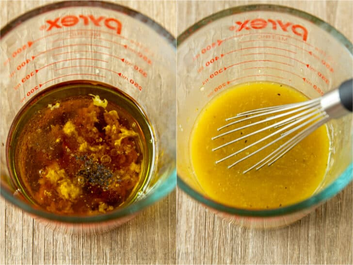 Vinaigrette Dressing Ingredients mixed together in measuring cup