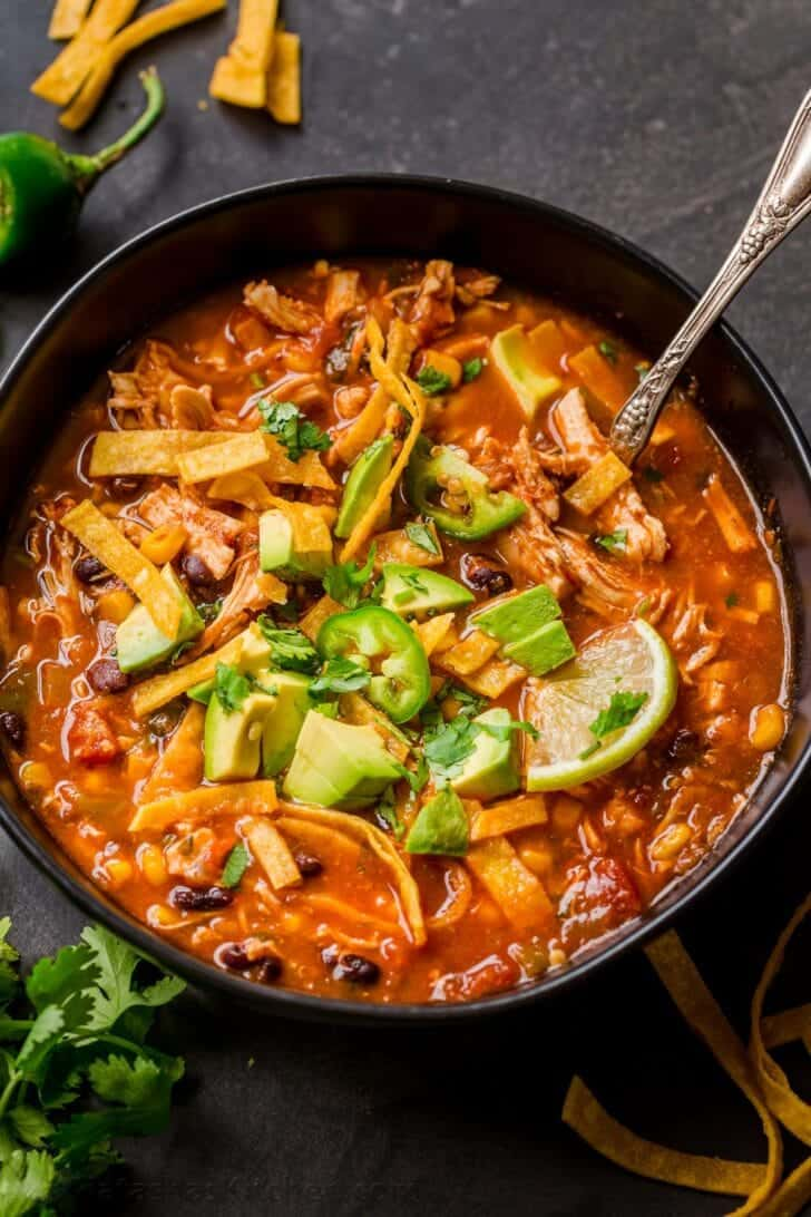 Leftover Chicken Taco Soup
