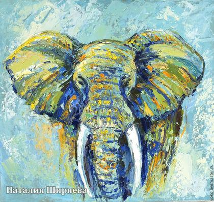 "Картина со слоном ""Прогулка в Облаках"""