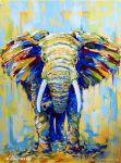 """Картина со слоном """"Солнечный Слон"""" художник Наталия Ширяева"""