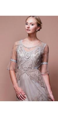 Edwardian Vintage Wedding Dress in Sand-Silver by Nataya