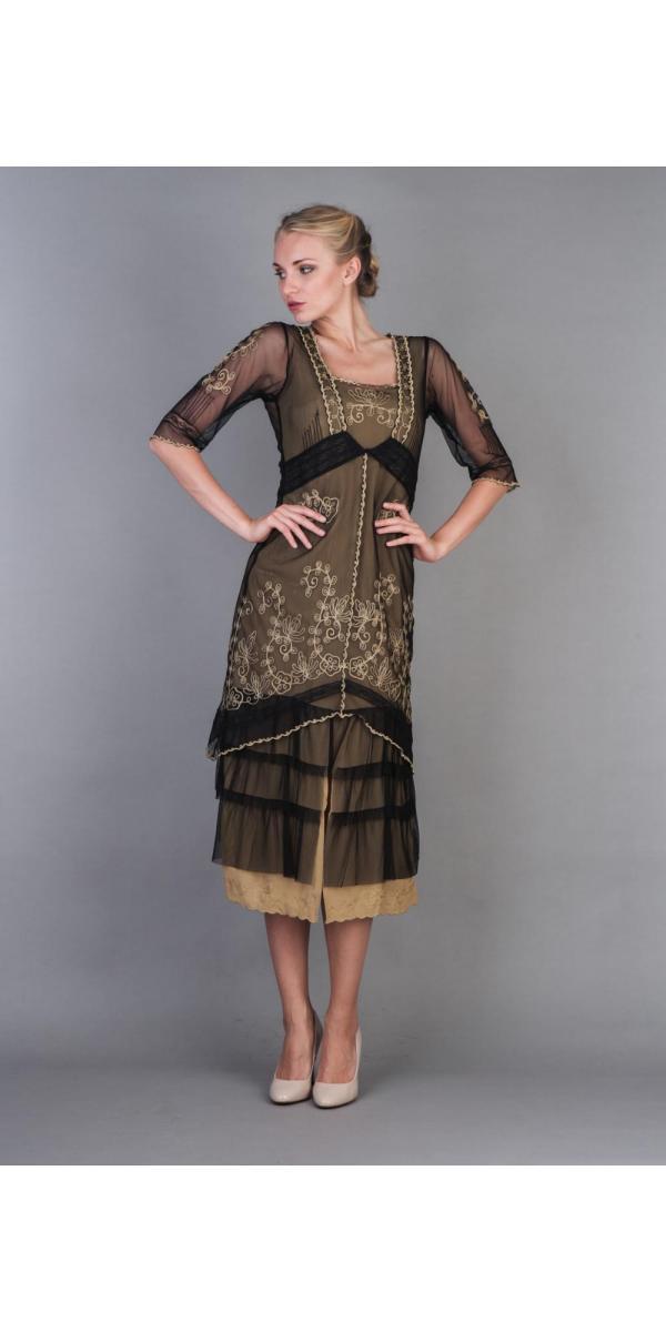 Nataya Titanic Dress Al-2101 In Black Gold - Dresses