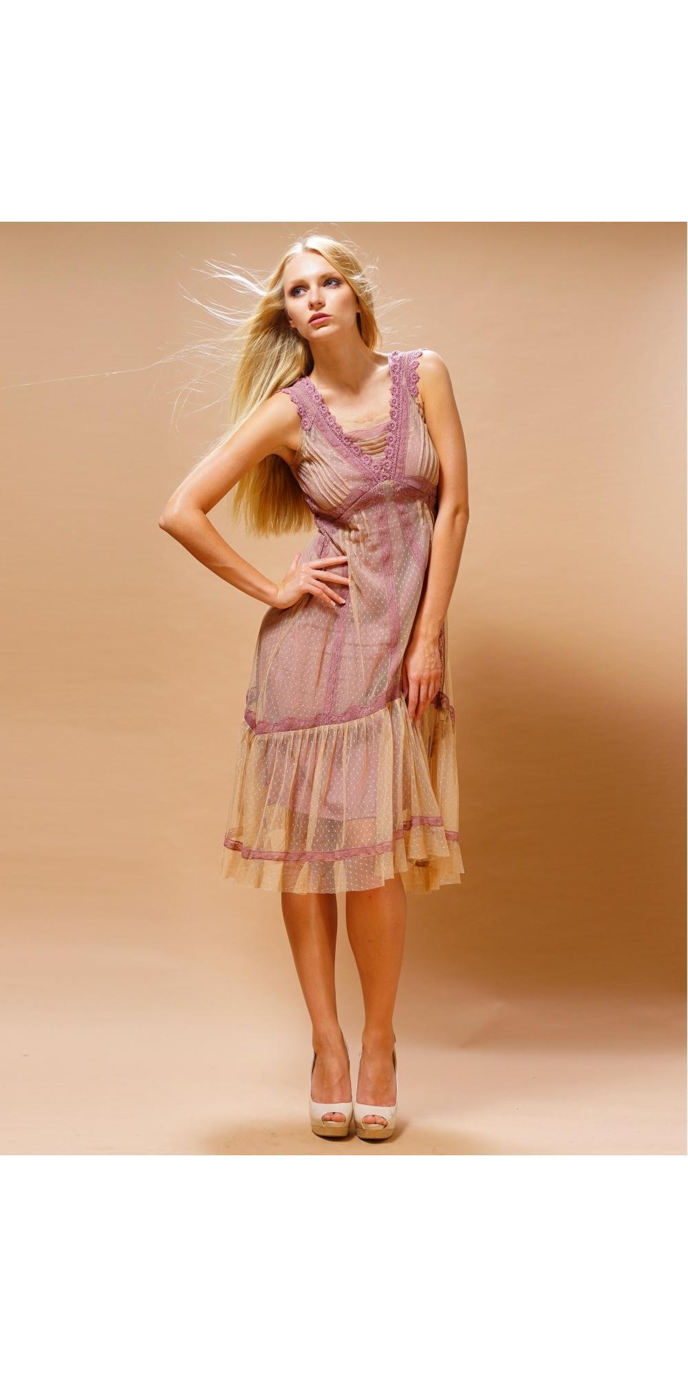 Nataya 220 Bohemian Vintage Inspired Party Dress in Rose Beige