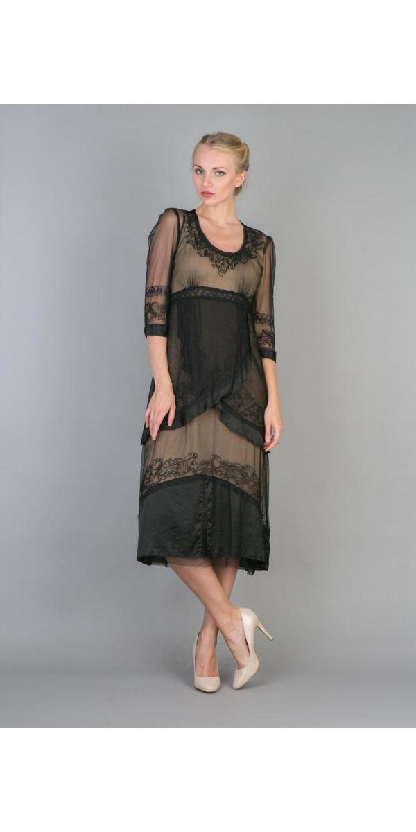 Nataya 40221 Ruffled Tea Party Dress In Black Gold