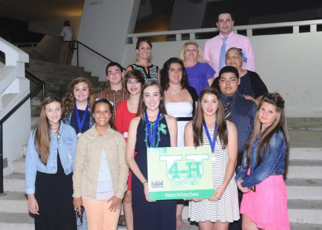 Natchitoches Parish 4-H members attending 4-H University at LSU this summer were: (front row) Jordan Rodriguez, Karmel Davenport, Jill Wiltz, Abigail Gardener, Mikalynn Burns. (second row) Danielle Settle, William LaCaze, Kate Dickson, Rachel Rachal, Corey Gallion. (back row) Gwen Fontenot, 4-H Agent; Fredda Burns, adult volunteer; Randall Mallette, County Agent, and Connie Gallion, adult volunteer. Jill Wiltz, Natchitoches Central High School student, was named as a National 4-H Conference Delegate and elected as State 4-H Vice President for the upcoming school year. Jordan Rodriguez, also a student at Natchitoches Central High School, was named to the Food and Fitness Board, and Kate Dickson, from St. Mary's, was named to the Science, Engineering, and Technology Board.