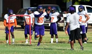 Sophomore receiver Cameron Lazare in a drill