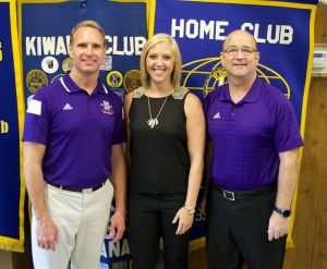 L-R: Dr. Greg Handel, Director of the NSU School of Creative and Performing Arts; Haley Blount,Kiwanian President-elect; Dr. Jeff Mathews, NSU Director of Bands.