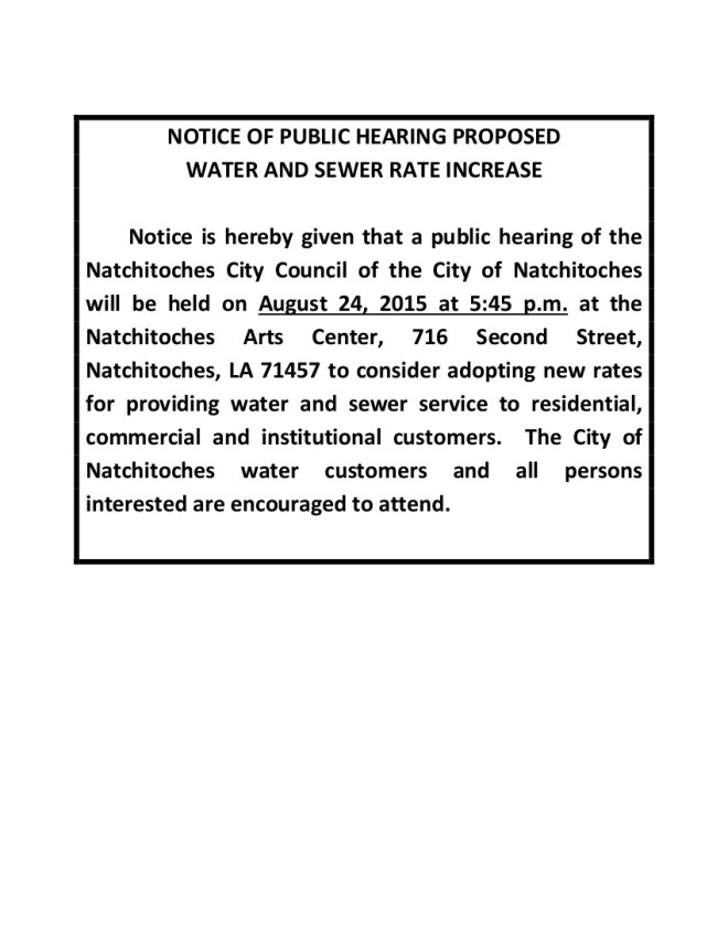 WATER RATE INCREASE - NOTICE OF PUBLIC HEARING PROPOSED