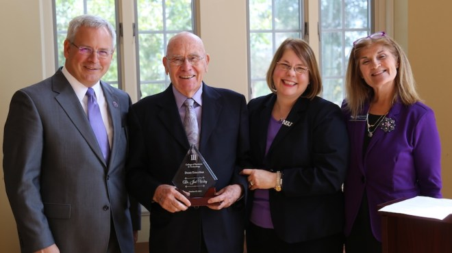 Worley:   Dr. Joel Worley was named dean emeritus of Northwestern State University's School of Business.  Worley  was a professor of business administration and later served as dean.  From left are NSU President Dr. Jim Henderson, Worley, Provost and Vice President for Academic Affairs Dr. Lisa Abney and Dr. Margaret Kilcoyne, interim dean of the College of Business and Technology