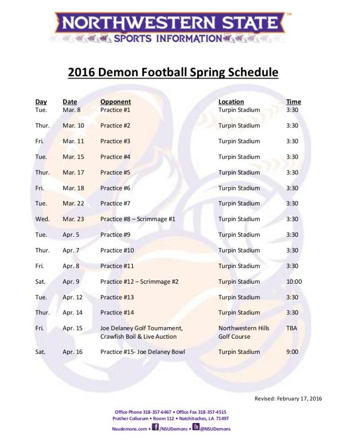 2016 Football Spring schedule