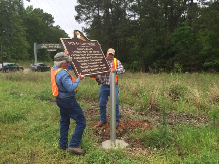 Engineers from the Alexandria District of LADOTD installed the historical marker on Tuesday, April 12, 2016.
