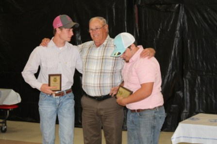 Larry Smith presented the Welding Award to Layton Friday and Jesse Rachal for competing at the state level.