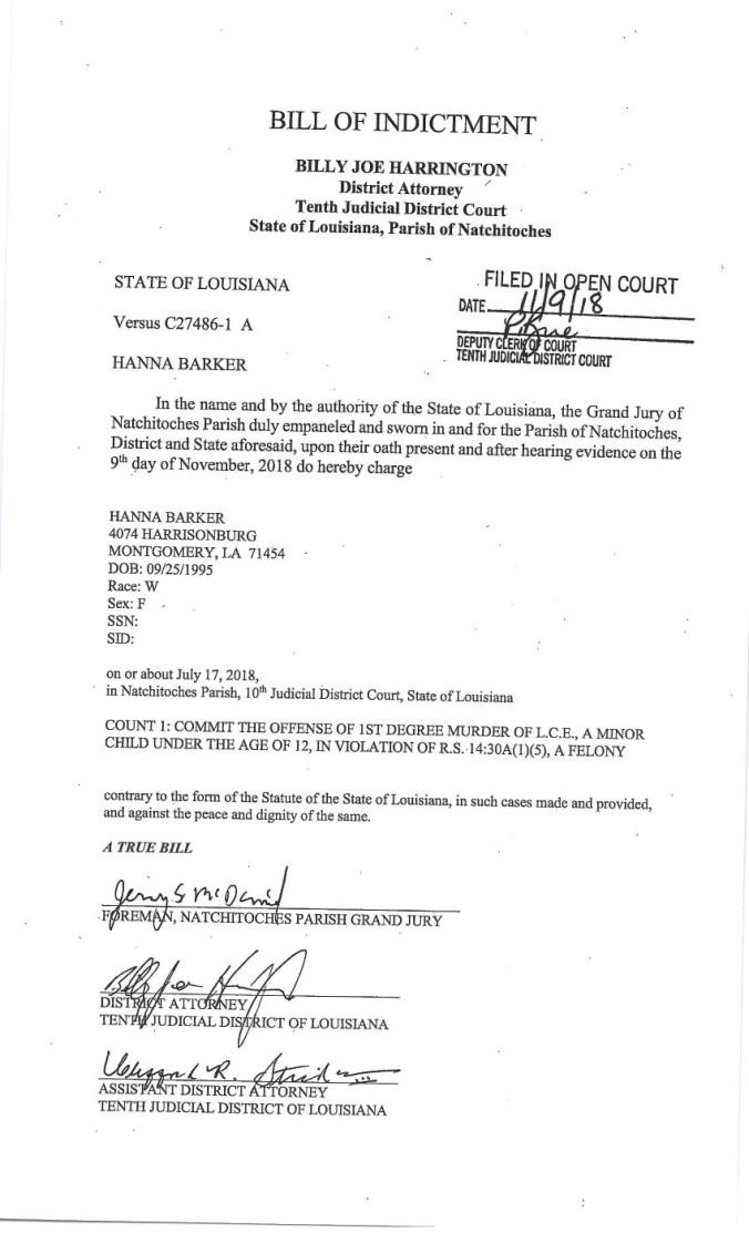 Bill of Indictment State Vs Hanna Barker