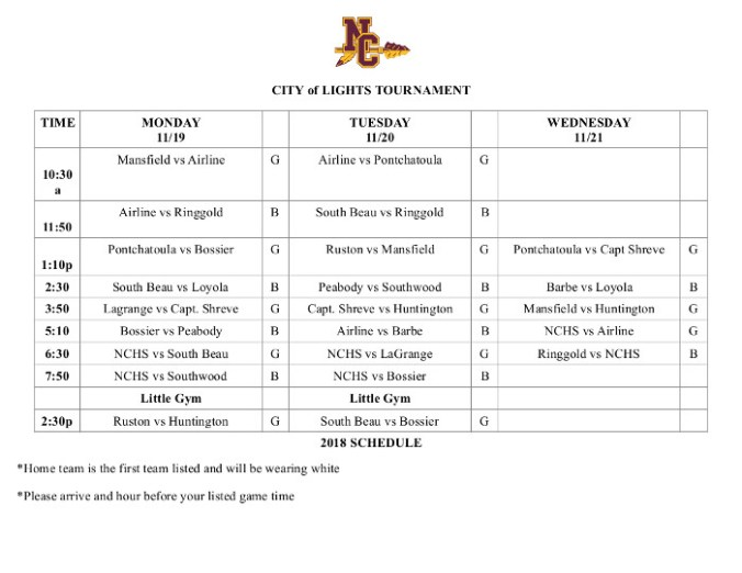 City of Lights 2018 Tournament Schedule
