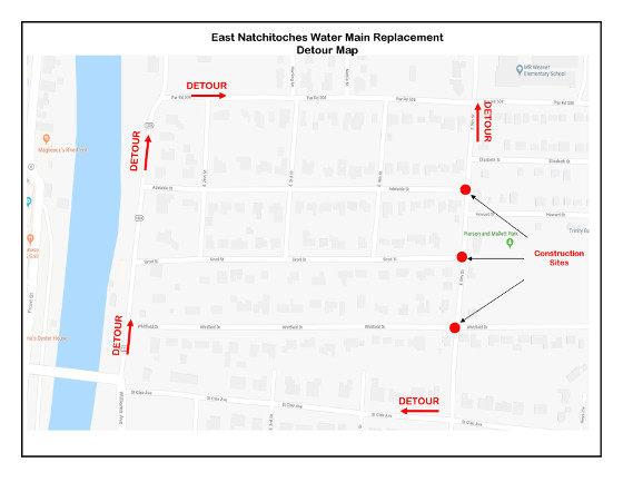 East Natchitoches Water Main Replacement Detour Map
