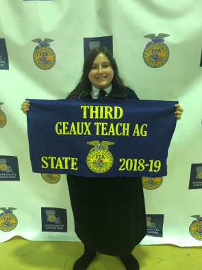 Gracie Niette placed 3rd in the State in Geaux Teach Ag.