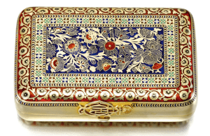 A silver-gilt and champlevé enamel cigar case, Shanks & Bolin, workmaster Maria Linke, Moscow, 1886