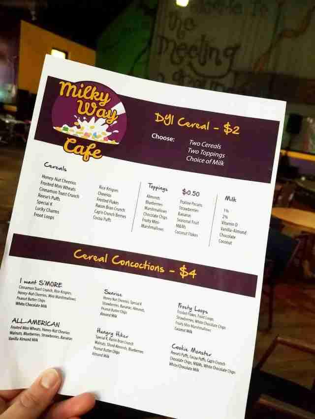 Terre Haute Cereal Bar Menu