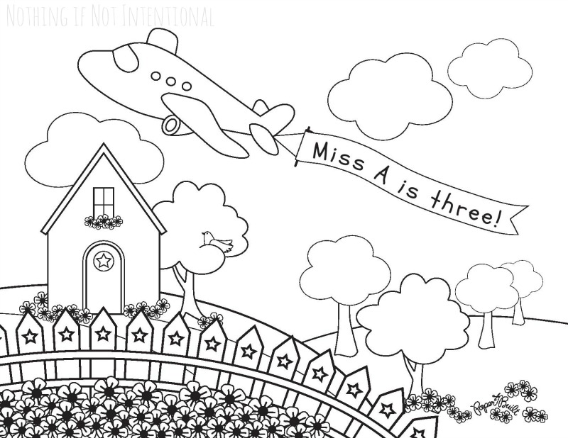 Airplane Play: Airplane Sensory Bin, Personalized Coloring
