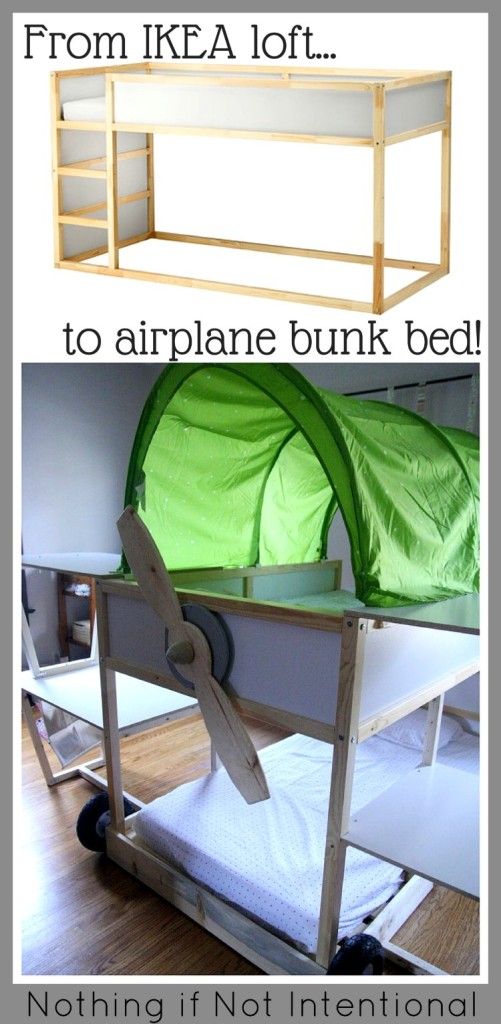 Ikea Bed Hack Kura Loft Turned Into An Airplane Bunk Bed