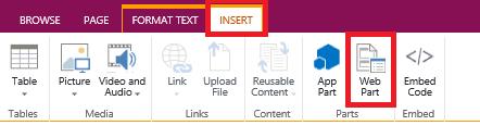 insert web part