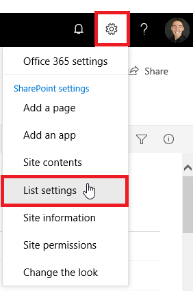 list settings o365