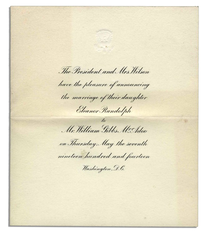 Lot Detail President Wilson White House Invitation To May