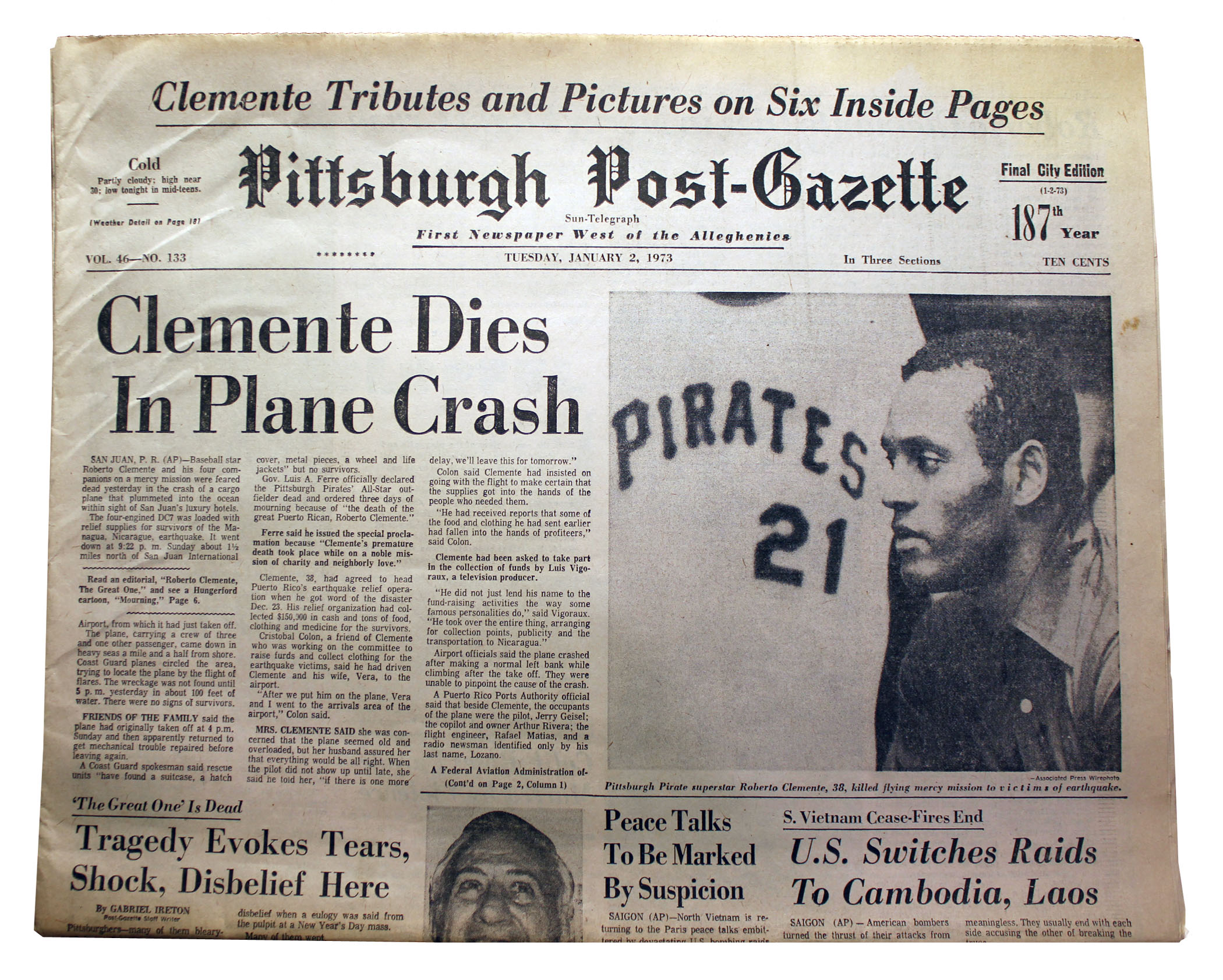 The Front Page Of The Pittsburgh Post Gazette From Jan 2